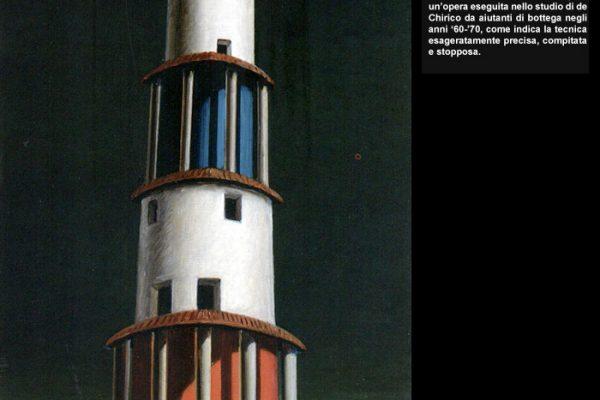 """Fig. 5 - Bottega di Giorgio de Chirico, """"La torre e il treno"""" fine anni '60, datato 1934"""